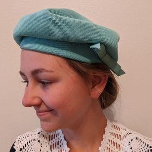 Vintage 60s Kangol turquoise mint bow beret hat